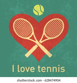 I love tennis logo with retro grunge paper texture layer isolated vector graphics for posters, brochure or web design