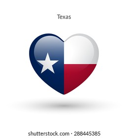 Love Texas state symbol. Heart flag icon. Vector illustration.