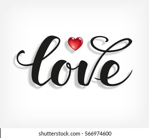 Love text. Calligraphic Lettering. Valentine s day greeting card template. Vector illustration.
