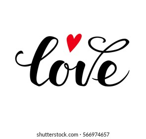 Love text. Calligraphic Lettering. Valentine's day greeting card template. Vector illustration.