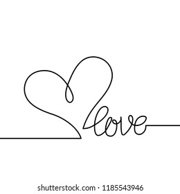 Love text with continuous line drawing of heart isolated on white background, love lettering for greeting card, poster, invitation, wedding, handwritten calligraphy.