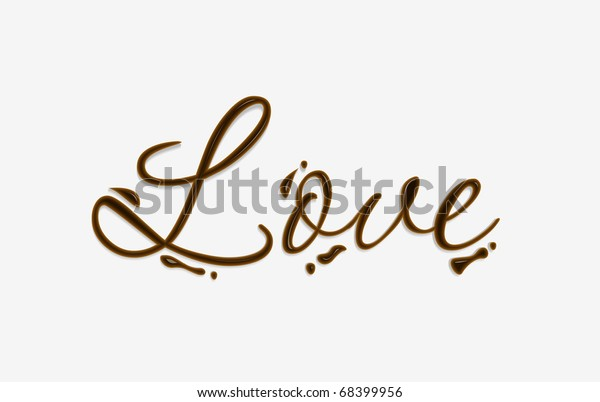 Love text made of chocolate vector design element.