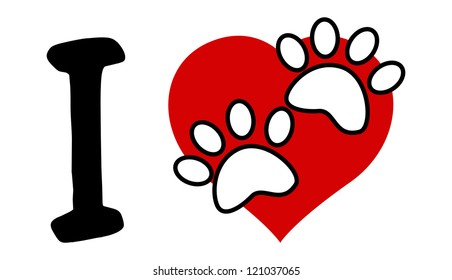 I Love Text With Red Heart And Paw Print