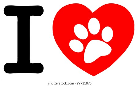 I Love Text With Red Heart And Paw Print. Vector Illustration