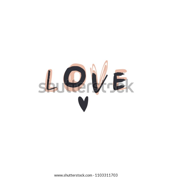 Love text sign. Vector, clipart, isolated details. Editable elements.
