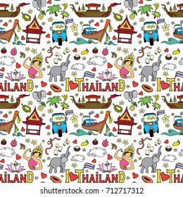 I love Thailand seamless pattern.Doodle Thai traditional objects and symbols , vector illustration