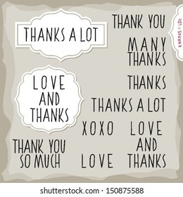 love and thanks hand drawn big letters grateful monochrome inscription set with two vintage frames on light background