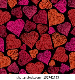 Love theme seamless background, hearts seamless pattern, vector, hand drawn lines textures used.