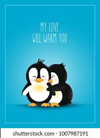 Love Themed. Postcard Design Love. Warm Hug Cute Cartoon Penguins. Care. Vector illustration. Love