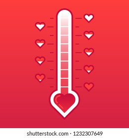 Love thermometer. Hot or frozen heart temperature counter valentines card. Love level meter romance passion degree indicator for valentine february 14 day vector concept illustration