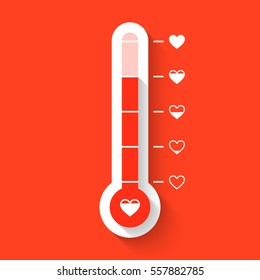 Love thermometer Valentines Day card element vector illustration