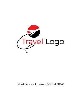 love travel, love and Airplane silhouette for transportation and travel company. Travel agency logo. Design elements. tourism logo