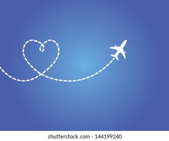 Love Travel Concept Illustration: A Airplane flying in the dark blue sky leaving behind a love shaped smoke trail
