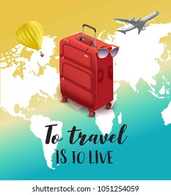 Love travel concept illustration in vector. Airplane flying.