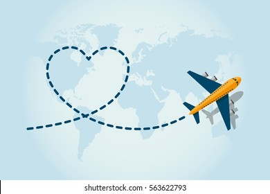 Love travel concept illustration in vector. Airplane flying and leave a blue dashed trace line.