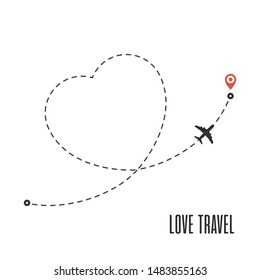 Love travel route. Airplane line path isolated on white background. Plane and its track in simple flat style. Vector illustration of airplane flight route with start point and dash line trace. EPS 10.