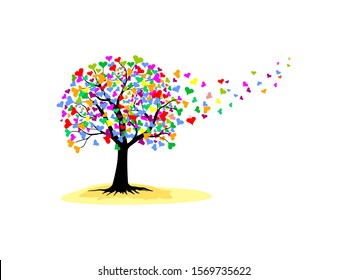 Love tree with heart leaves. High detail illustration of love tree.