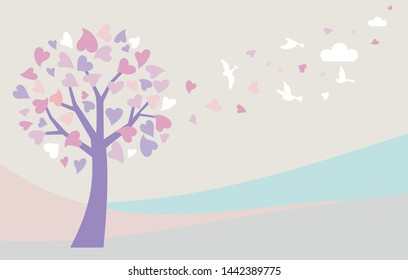 Love tree with heart leaves.Tree with beautiful bird Vector