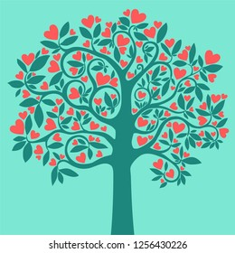 Love tree. Heart tree with red heart leaf  isolated on Mint background. Valentine's day background. Design Elements. Vector illustration