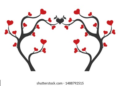 Love tree with heart shaped leaves. Romantic background.