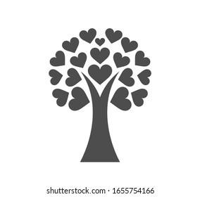 Love tree icon with hearts leaves. Vector illustration