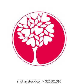Love. Tree. Icon. Vector illustration.