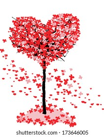 Love tree. Valentines day background with red heart leaves.