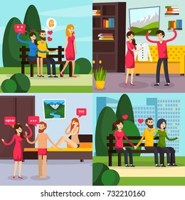 Love triangle, orthogonal flat concept with man thinking about mistress, treason scene, jealous woman isolated vector illustration