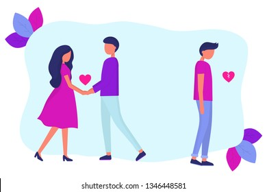 Love triangle. A woman is dating another man. Treason. A guy with a broken heart. Modern flat vector illustration.