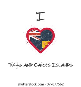 I love Turks and Caicos Islands t-shirt design. Turks and Caicos Islands flag in the shape of heart on white background. Grunge vector illustration