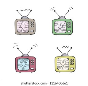 Love TV. Old vintage television in few diffrent colours