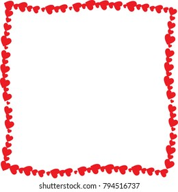 Love twisted frame made of cartoon red different sized hearts isolated on white background with empty space inside. Cute Valentines or wedding vector photo frame, border, template with space for text.
