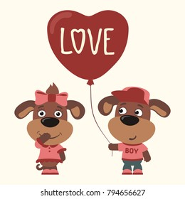Love. Two funny puppies dogs, boy and girl, with balloon-heart. Greeting card for Valentine's day.