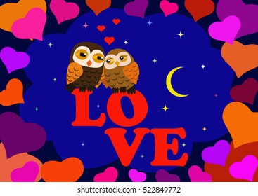 Love Two owls in the night star sky in a frame of hearts. Greeting card for Valentine's Day.