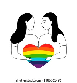 Love of two women, homosexual love. Family of lesbians. LGBT couple. Vector hand drawn illustration.