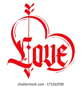 Love Typography Heart Gothic Lettering Medieval Calligraphy