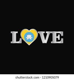 Love typography with Kalmykia flag design vector