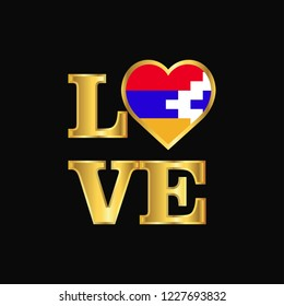 Love typography Nagorno Karabakh Republic flag design vector Gold lettering