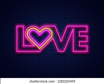 Love typography with neon lighting effect on blue brick wall background for valentine's day celebration concept.
