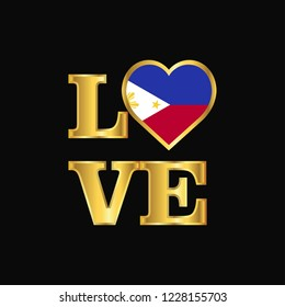 Love typography Phillipines flag design vector Gold lettering