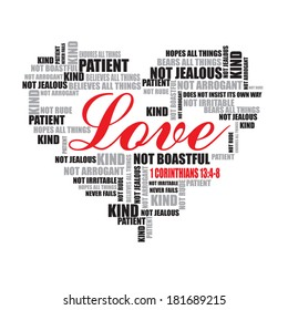 Love typography. Word art vector illustration. Love word cloud