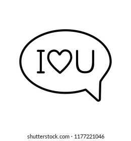 I love u message with heart line icon. Speech bubble with love text vector illustration isolated on white. Love chat outline style design, designed for web and app. Eps 10