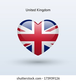 Love United Kingdom symbol. Heart flag icon. Vector illustration.
