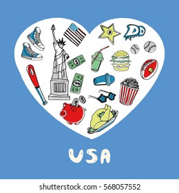 Love United States of America. White heart filled american culture related vintage doodles isolated on blue background vector illustration. Memories about USA journey. Sketched national symbols icons