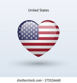 Love United States symbol. Heart flag icon. Vector illustration.