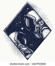 Love in universe tattoo and t-shirt design. Two astronauts. Romantic symbol of eternal love