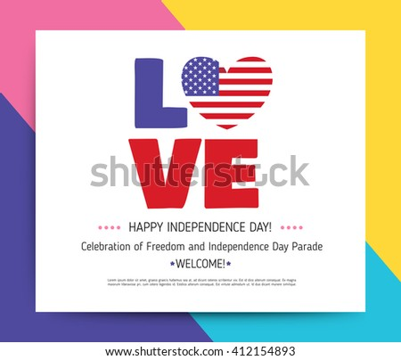 35f1cb81a8102e Love USA America Happy Independence Day Stock Vector (Royalty Free ...