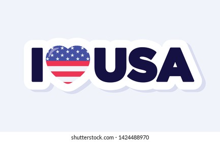 I Love USA sign. 4th of July, United States Independence Day related symbol. Flat design sign isolated on background