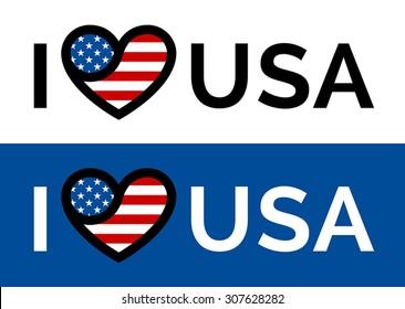 I love USA sticker slogan vector design with conceptual heart and flag icon