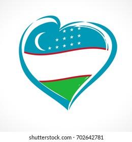 Love Uzbekistan emblem colored. Independence day of Uzbekistan vector background blue heart on national flag colors
